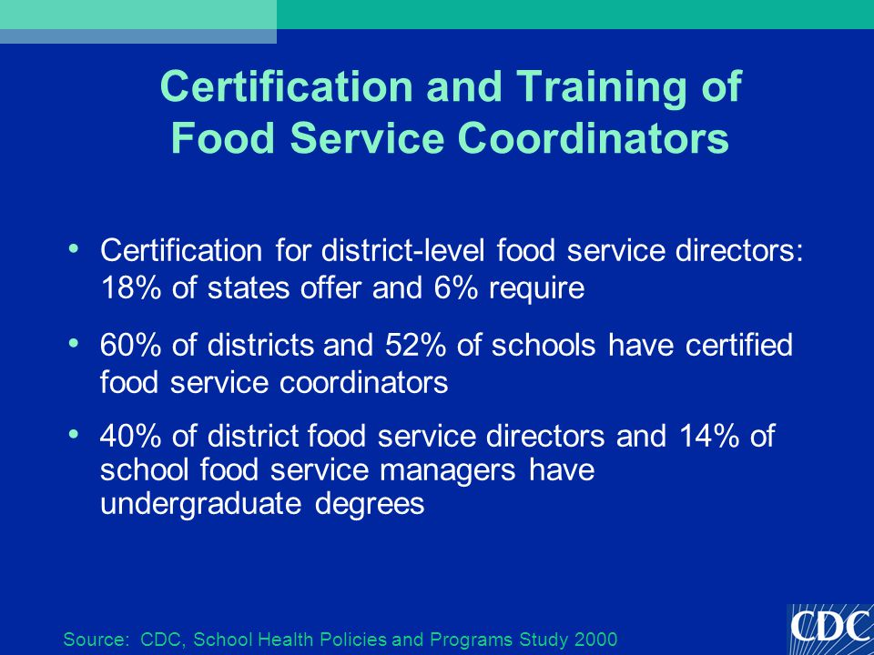 Certification and Training of Food Service Coordinators Certification for district-level food service directors: 18% of states offer and 6% require 60% of districts and 52% of schools have certified food service coordinators 40% of district food service directors and 14% of school food service managers have undergraduate degrees Source: CDC, School Health Policies and Programs Study 2000