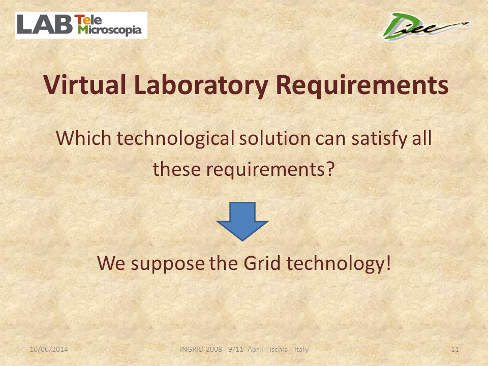 Virtual Laboratory Requirements Which technological solution can satisfy all these requirements.