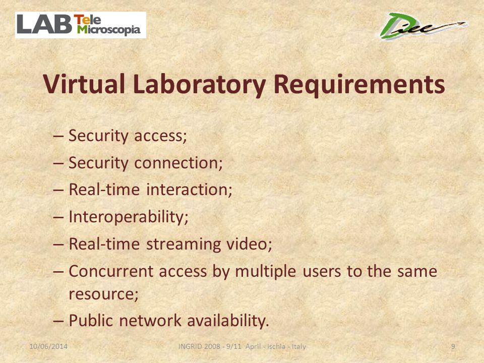 Virtual Laboratory Requirements – Security access; – Security connection; – Real-time interaction; – Interoperability; – Real-time streaming video; – Concurrent access by multiple users to the same resource; – Public network availability.