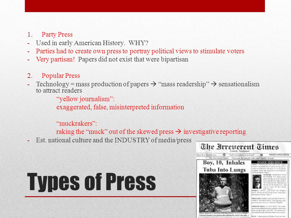 Types of Press 1.Party Press -Used in early American History.