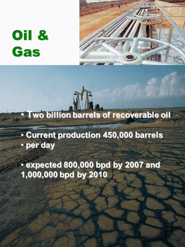 Oil & Gas T wo billion barrels of recoverable oil T wo billion barrels of recoverable oil Current production 450,000 barrels Current production 450,000 barrels per day per day expected 800,000 bpd by 2007 and 1,000,000 bpd by 2010 expected 800,000 bpd by 2007 and 1,000,000 bpd by 2010
