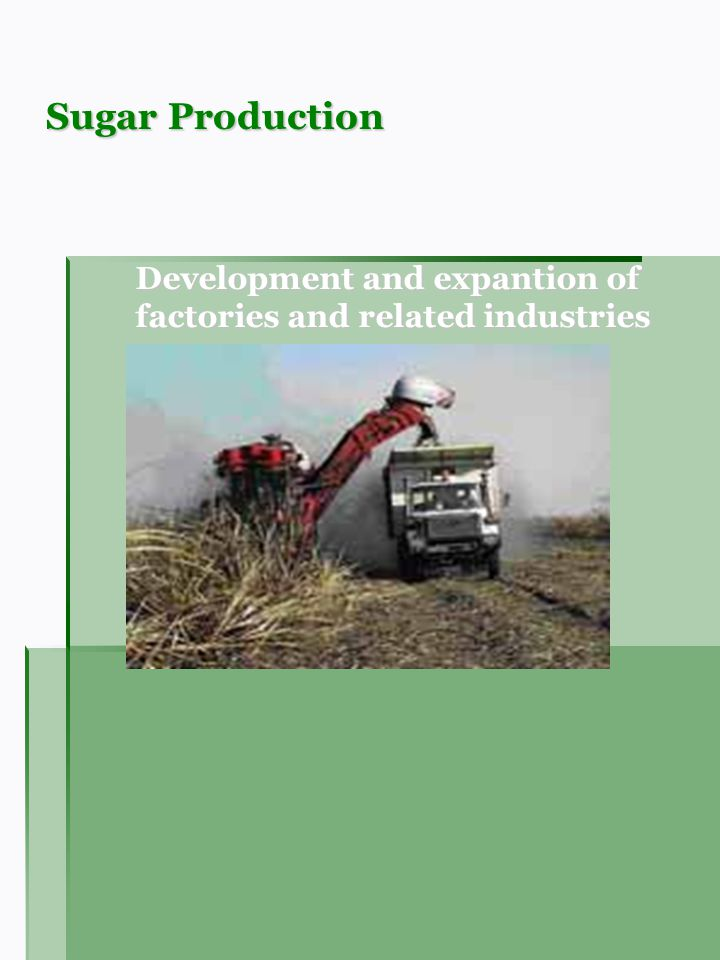 Sugar Production Development and expantion of factories and related industries