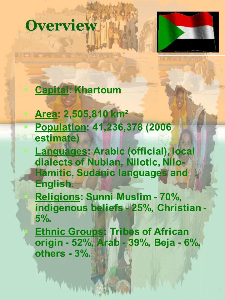 Overview Capital: Khartoum Area: 2,505,810 km² Population: 41,236,378 (2006 estimate) Languages: Arabic (official), local dialects of Nubian, Nilotic, Nilo- Hamitic, Sudanic languages and English.