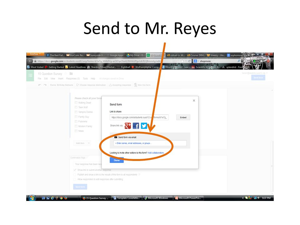 Send to Mr. Reyes