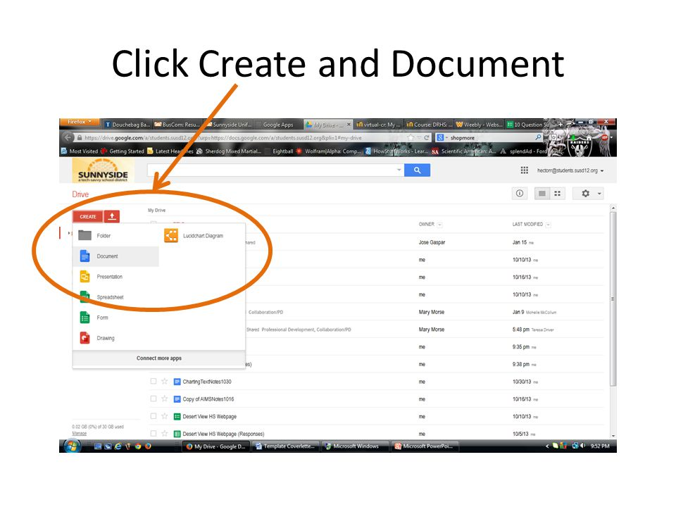 Click Create and Document