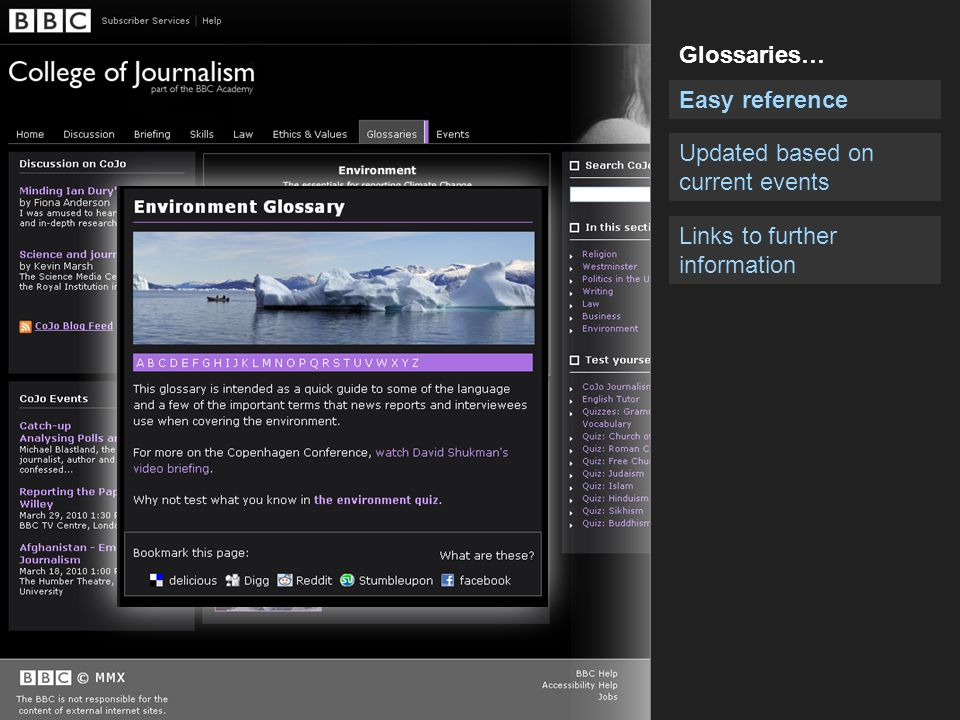 Easy reference Updated based on current events Glossaries… Links to further information