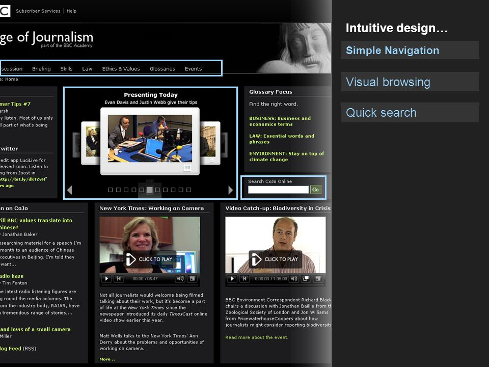 Intuitive design… Simple Navigation Visual browsing Quick search