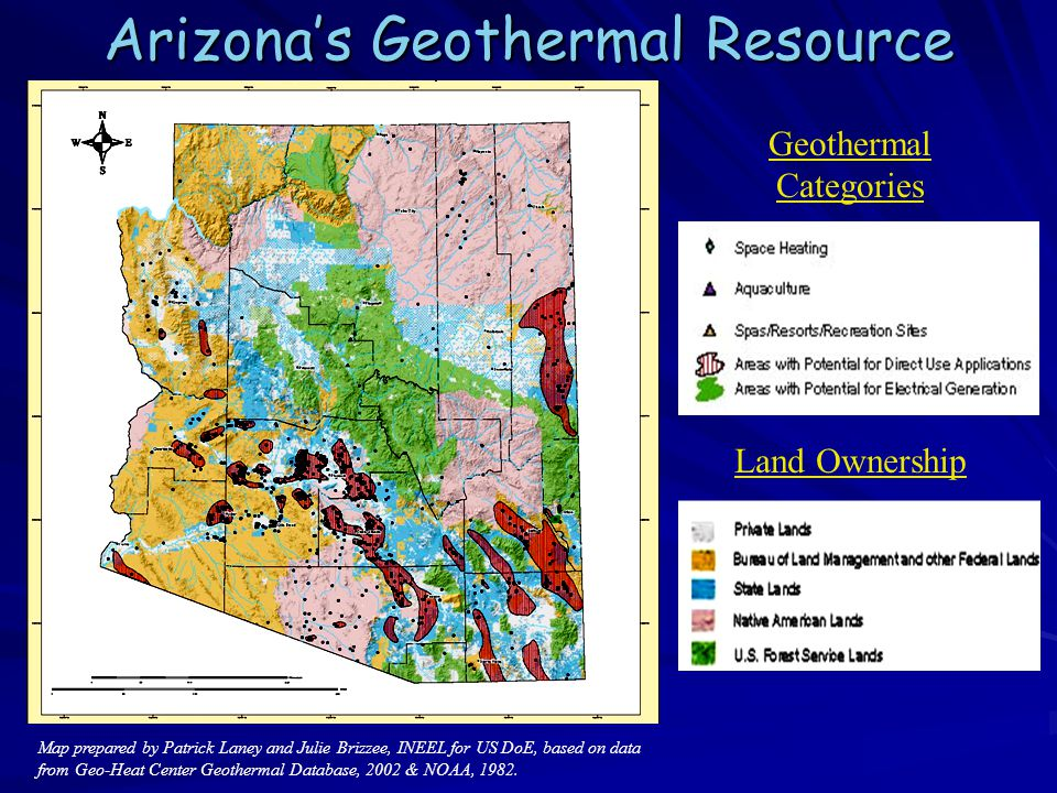 Map prepared by Patrick Laney and Julie Brizzee, INEEL for US DoE, based on data from Geo-Heat Center Geothermal Database, 2002 & NOAA, 1982.
