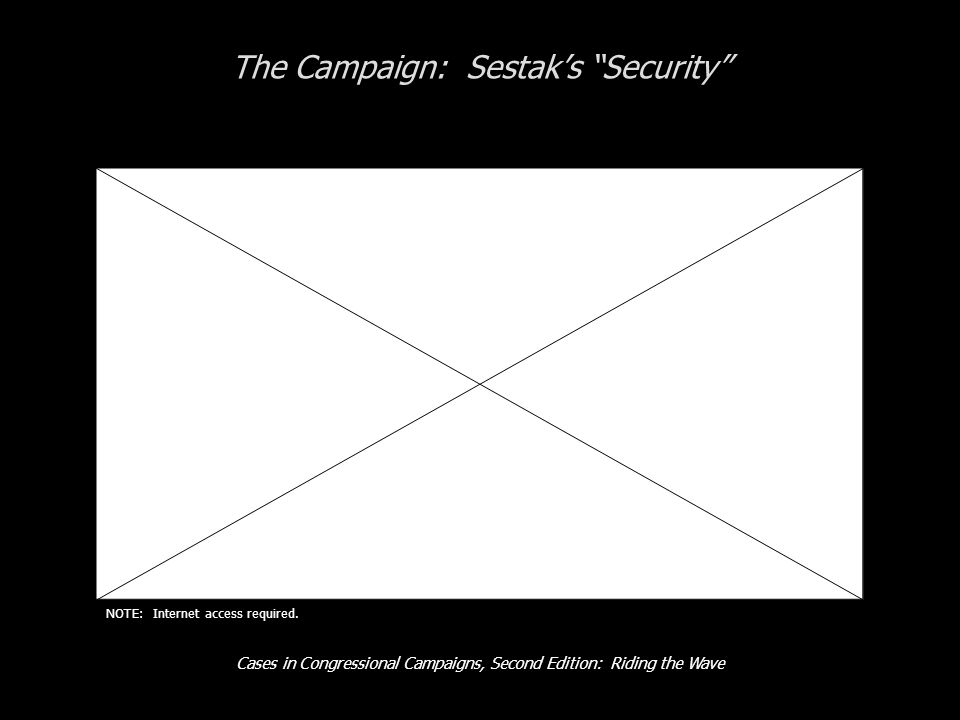 Cases in Congressional Campaigns, Second Edition: Riding the Wave The Campaign: Sestaks Security NOTE: Internet access required.