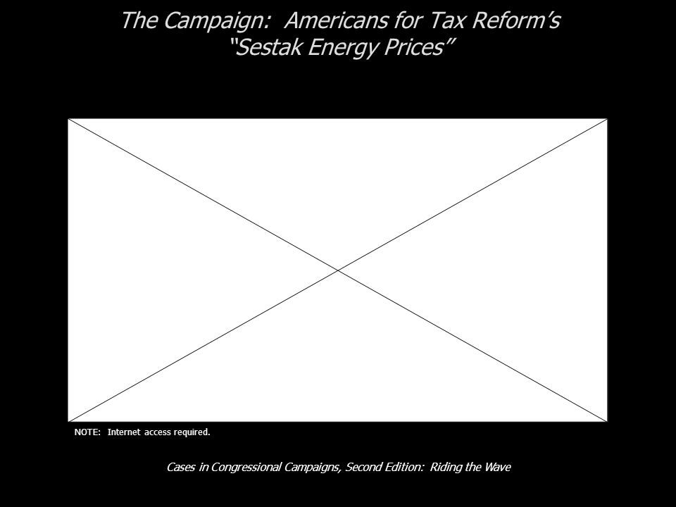 Cases in Congressional Campaigns, Second Edition: Riding the Wave The Campaign: Americans for Tax Reforms Sestak Energy Prices NOTE: Internet access required.