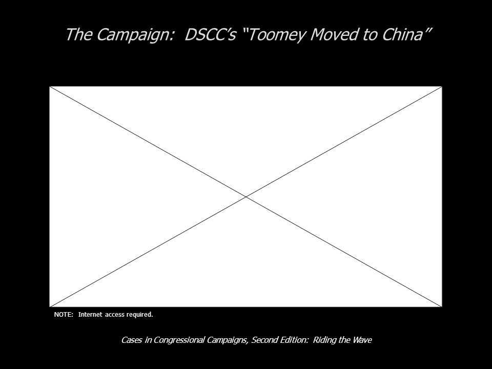 Cases in Congressional Campaigns, Second Edition: Riding the Wave The Campaign: DSCCs Toomey Moved to China NOTE: Internet access required.
