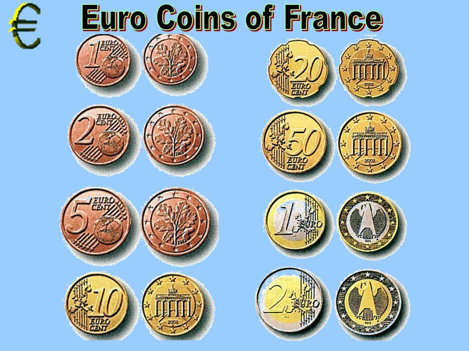 1 cent 2 cents 5 cents 1 cent 2 cents 5 cents 10 cents 20 cents 50 cents 1 Euro 2 Euro coin 1 Euro 2 Euro coin