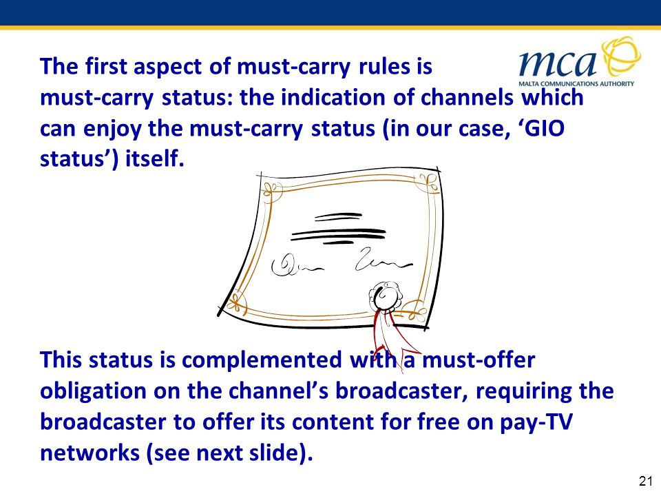 The first aspect of must-carry rules is must-carry status: the indication of channels which can enjoy the must-carry status (in our case, GIO status) itself.