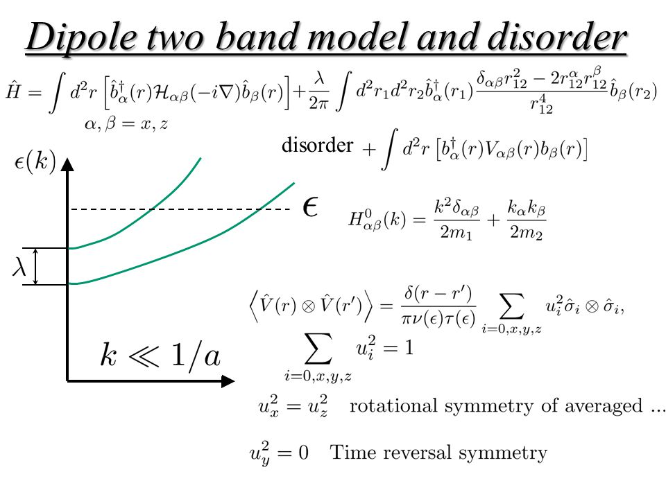 Dipole two band model and disorder disorder