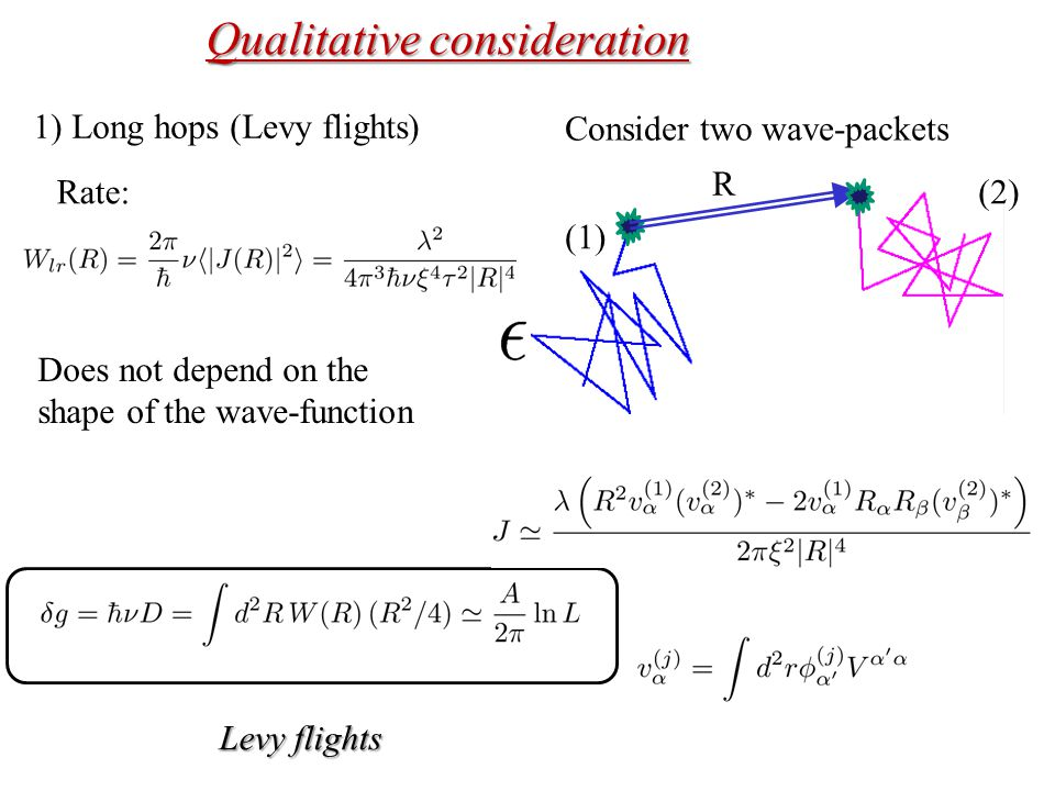 Qualitative consideration 1) Long hops (Levy flights) Consider two wave-packets (1) (2)Rate: R Does not depend on the shape of the wave-function Levy flights