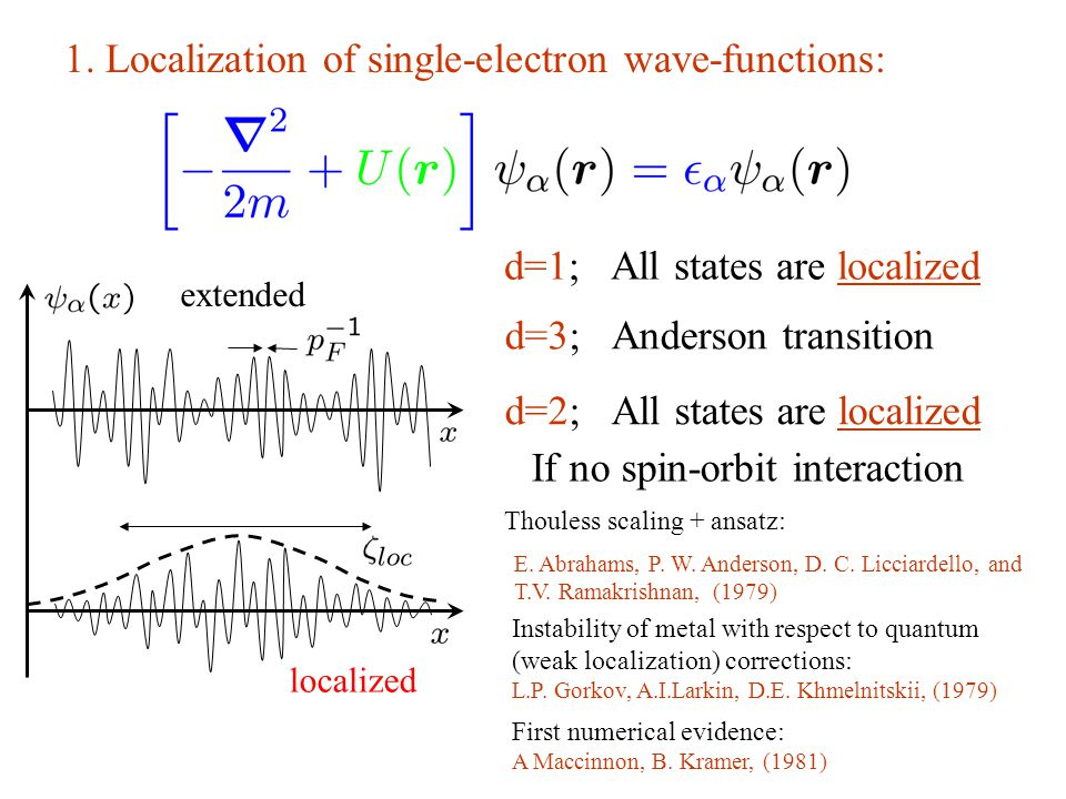 1. Localization of single-electron wave-functions: extended localized d=1; All states are localized d=3; Anderson transition d=2; All states are local
