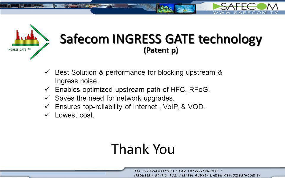 Thank You Safecom INGRESS GATE technology (Patent p) Best Solution & performance for blocking upstream & Ingress noise. Enables optimized upstream pat