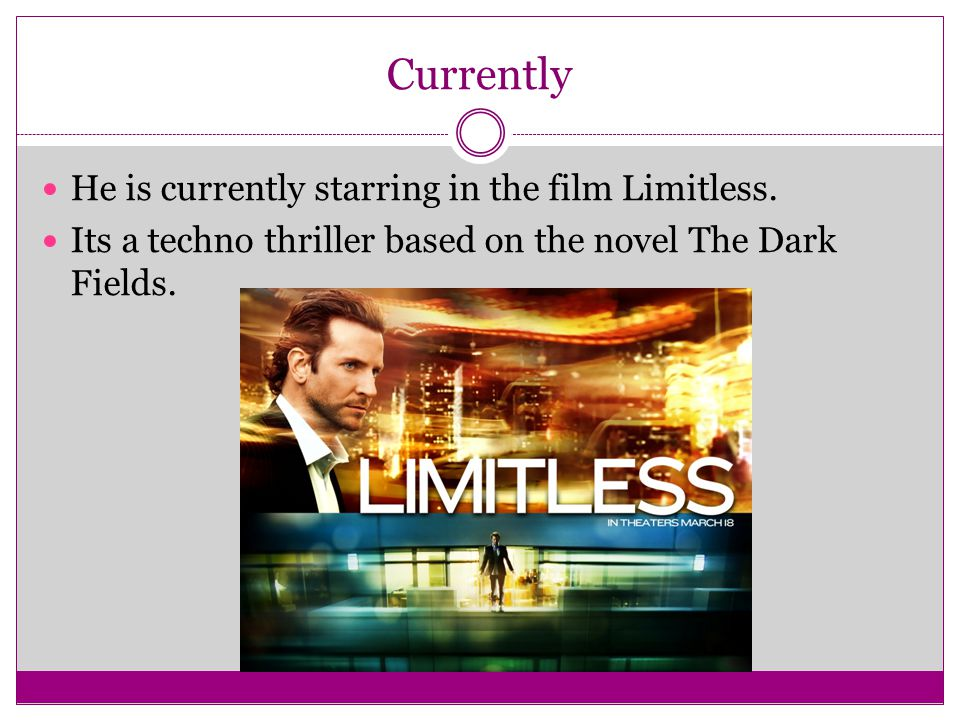 Currently He is currently starring in the film Limitless. Its a techno thriller based on the novel The Dark Fields.