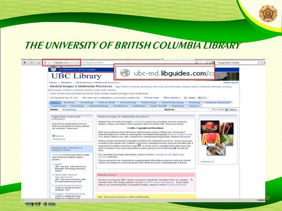 17 THE UNIVERSITY OF BRITISH COLUMBIA LIBRARY