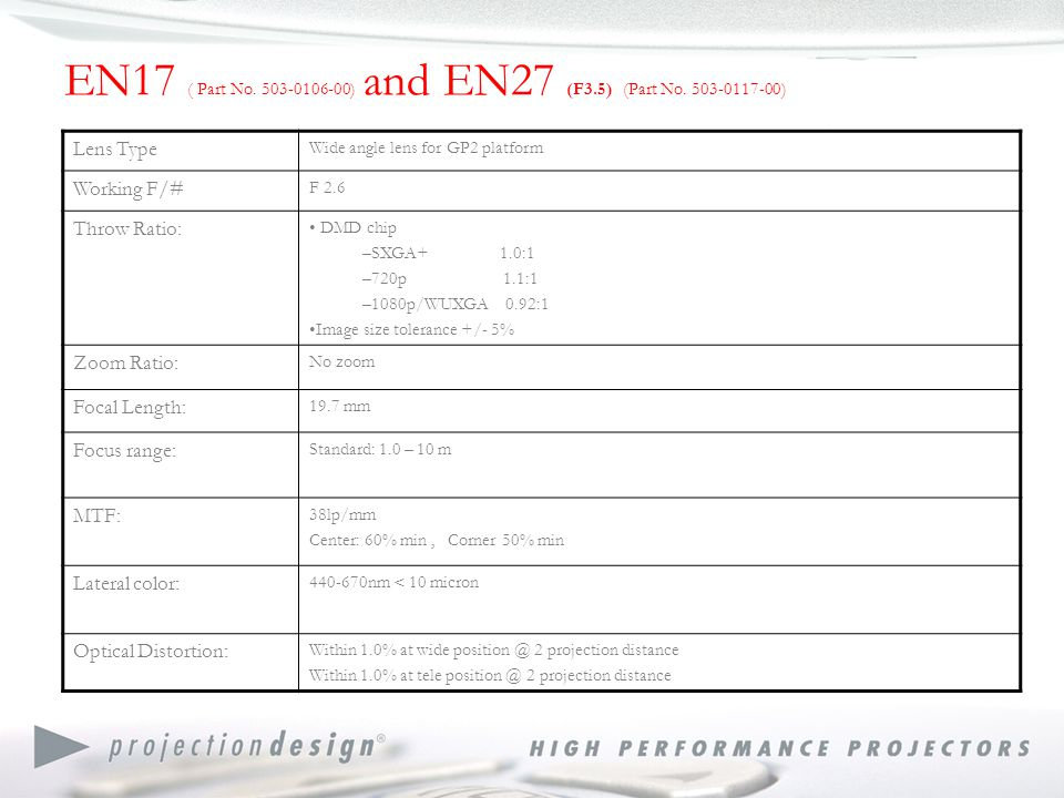 EN17 ( Part No. 503-0106-00) and EN27 (F3.5) (Part No.
