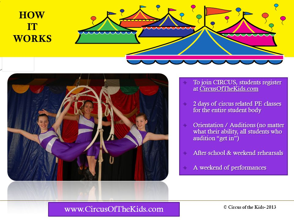 Costs 2 week program with up to 75 students and 2 PE days (1 or 3 week options are also available) Price to school without the grant: $32,500 © Circus of the Kids- 2013 PROGRAMMING COSTS www.CircusOfTheKids.com