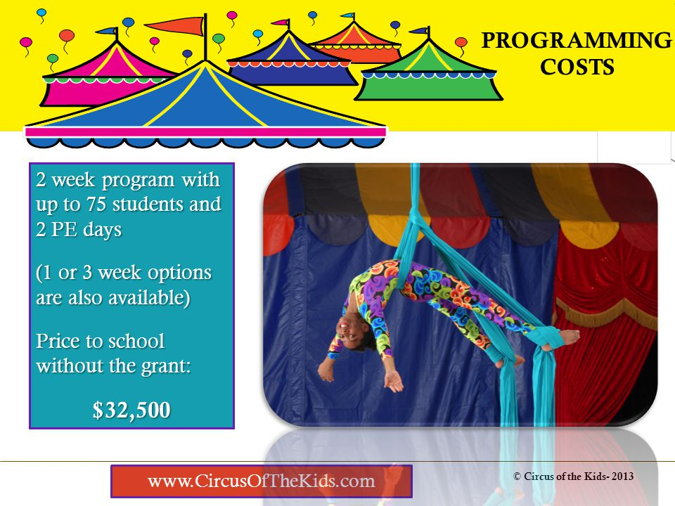 How it works © Circus of the Kids- 2013 SAFETY IS PRIORITY #1 www.CircusOfTheKids.com Skill progressions are used throughout training.