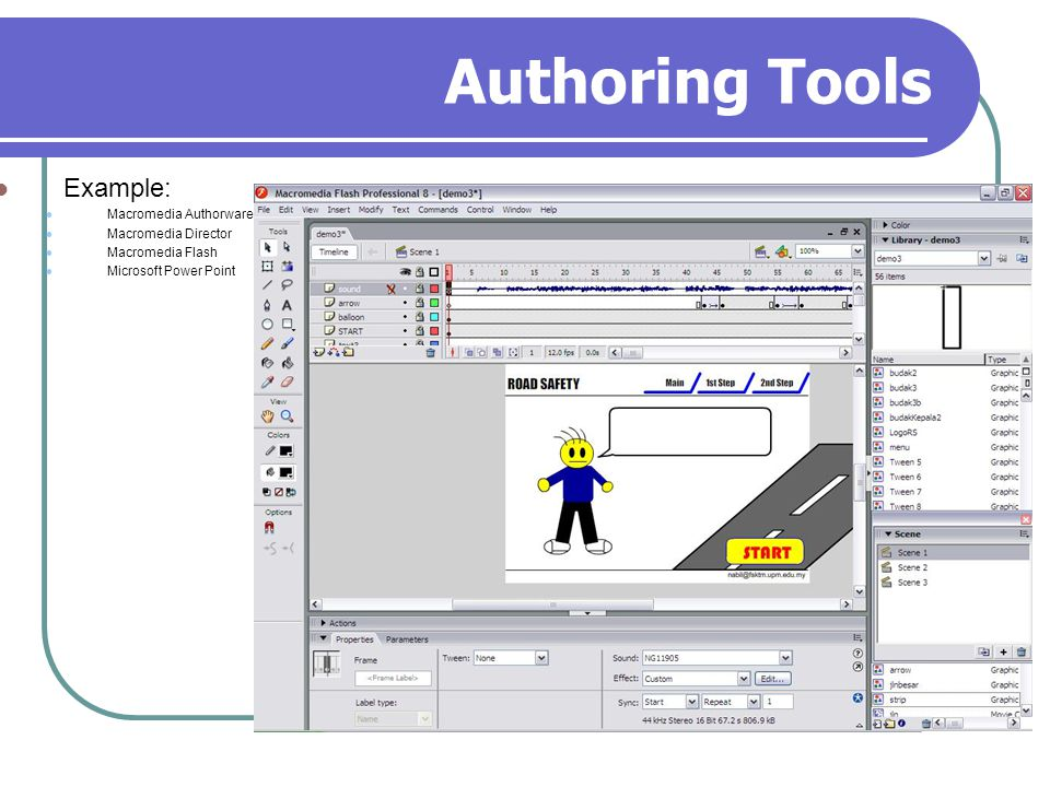 Authoring Tools Example: Macromedia Authorware Macromedia Director Macromedia Flash Microsoft Power Point