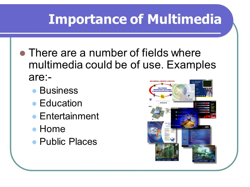 Importance of Multimedia There are a number of fields where multimedia could be of use. Examples are:- Business Education Entertainment Home Public Pl