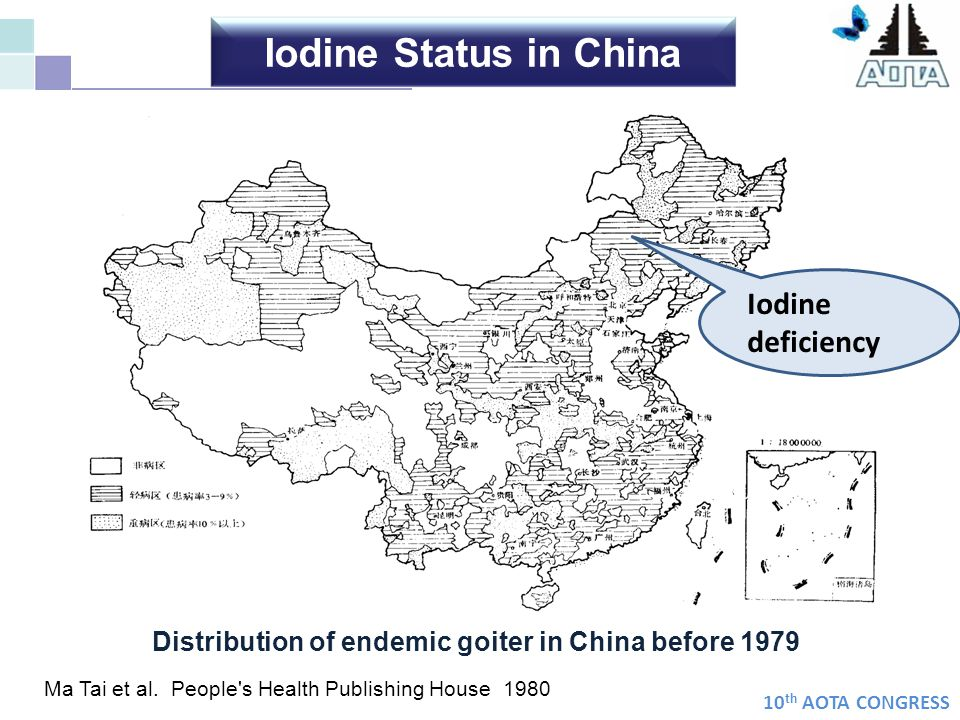 10 th AOTA CONGRESS From 1995 to 2005 Excessive More than Adequate Adequate Deficient 241246 MUI(mcg/L) 330 306 165 USISalt iodine was adjusted Iodine Nutrition of Population in China