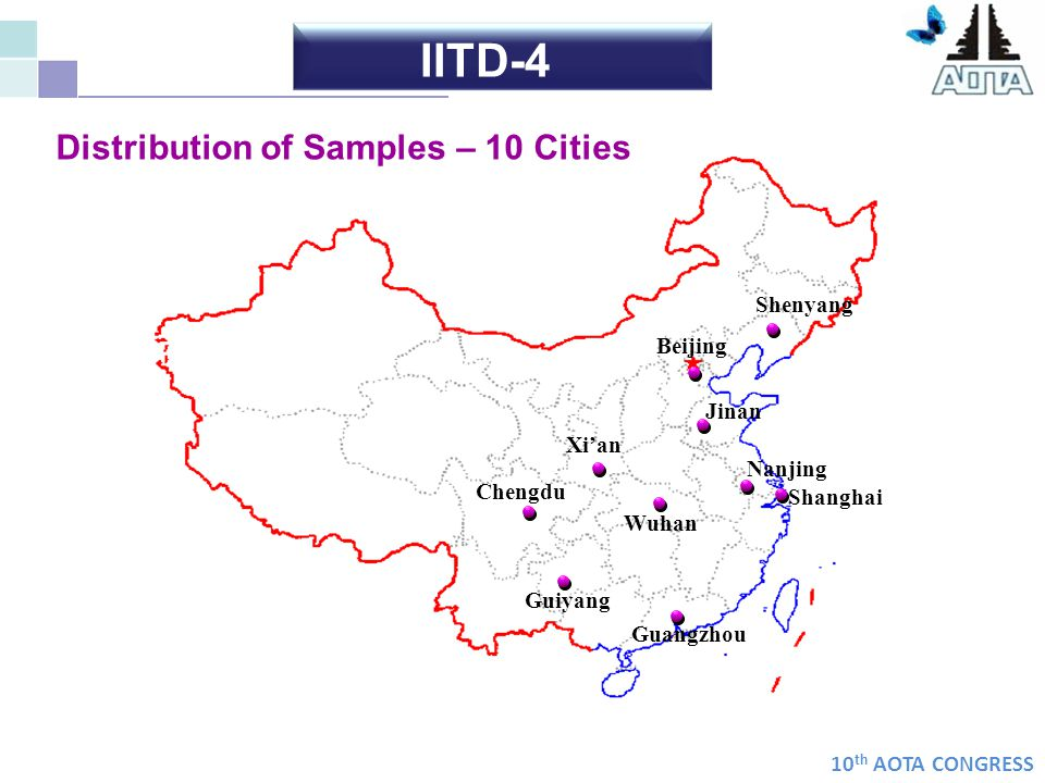 10 th AOTA CONGRESS Distribution of Samples – 10 Cities Chengdu Guangzhou Shanghai Jinan Nanjing Beijing Guiyang Xian Shenyang Wuhan IITD-4