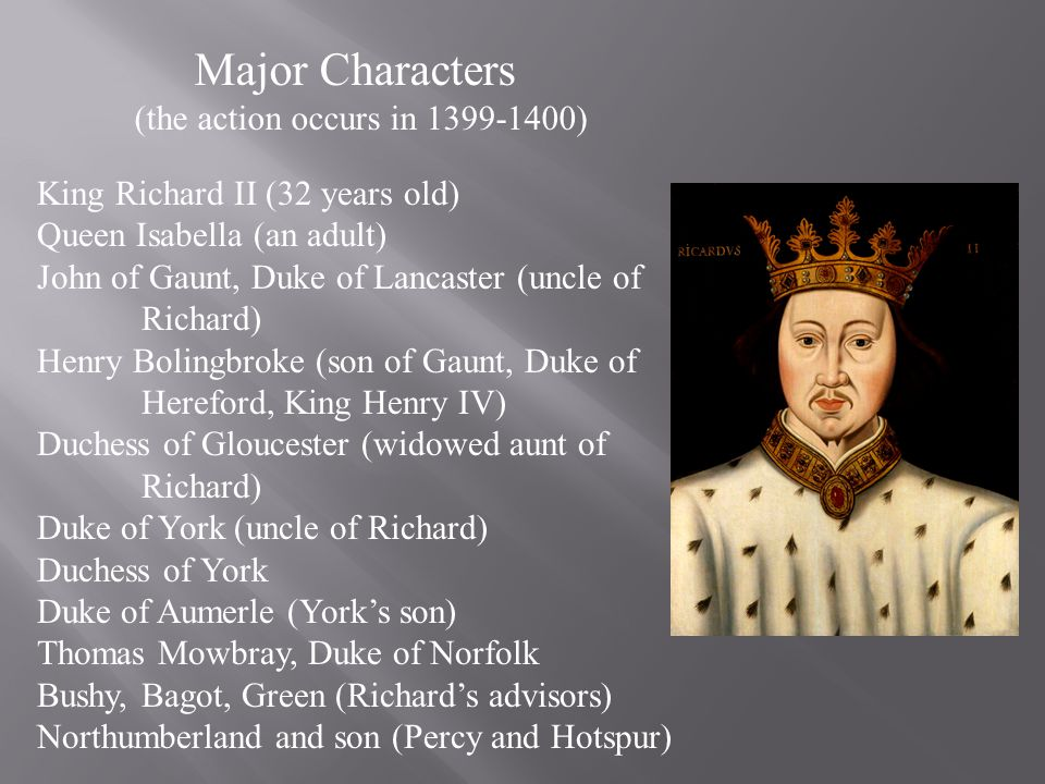 Major Characters (the action occurs in 1399-1400) King Richard II (32 years old) Queen Isabella (an adult) John of Gaunt, Duke of Lancaster (uncle of