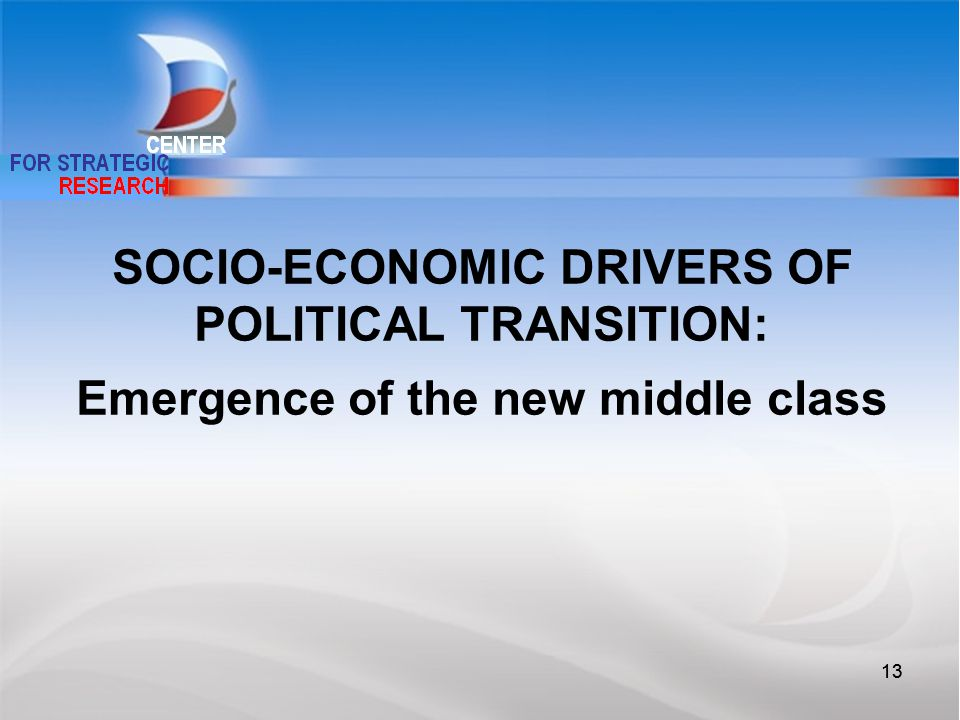 13 SOCIO-ECONOMIC DRIVERS OF POLITICAL TRANSITION: Emergence of the new middle class