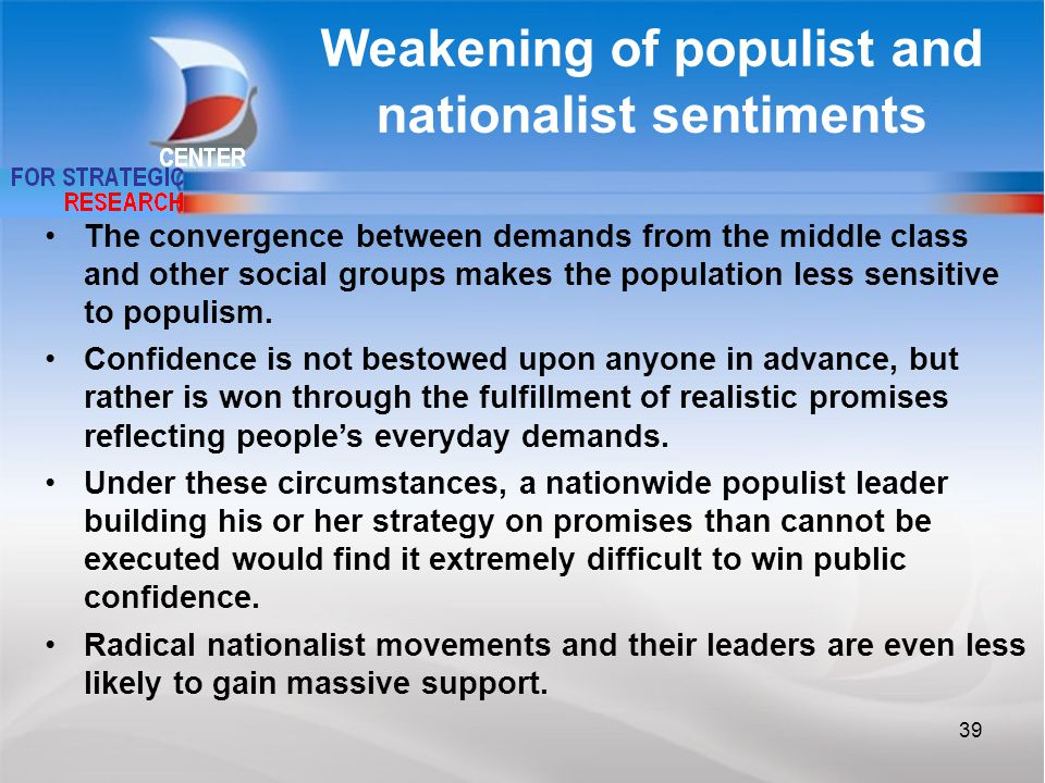 Weakening of populist and nationalist sentiments The convergence between demands from the middle class and other social groups makes the population less sensitive to populism.