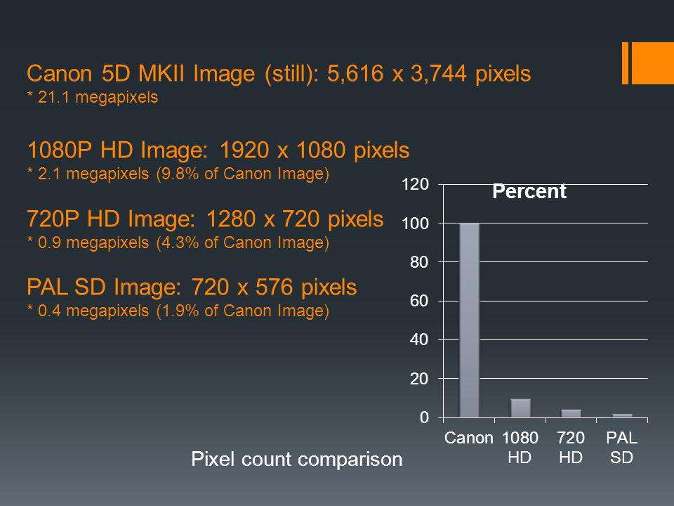 Canon 5D MKII Image (still): 5,616 x 3,744 pixels * 21.1 megapixels 1080P HD Image: 1920 x 1080 pixels * 2.1 megapixels (9.8% of Canon Image) 720P HD Image: 1280 x 720 pixels * 0.9 megapixels (4.3% of Canon Image) PAL SD Image: 720 x 576 pixels * 0.4 megapixels (1.9% of Canon Image) Pixel count comparison