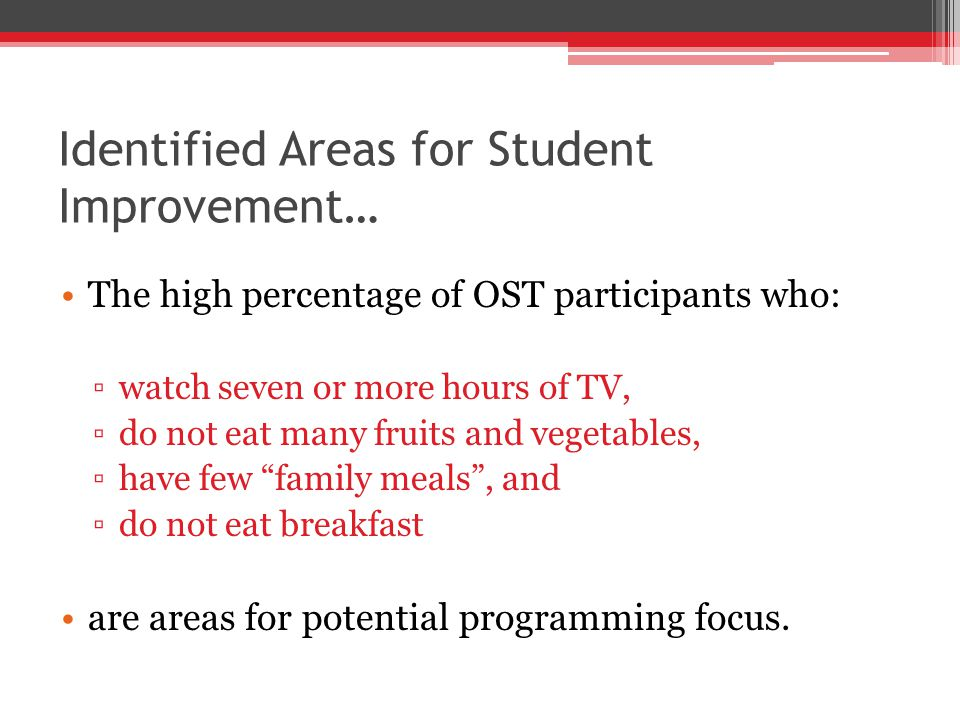 Identified Areas for Student Improvement… The high percentage of OST participants who: watch seven or more hours of TV, do not eat many fruits and vegetables, have few family meals, and do not eat breakfast are areas for potential programming focus.