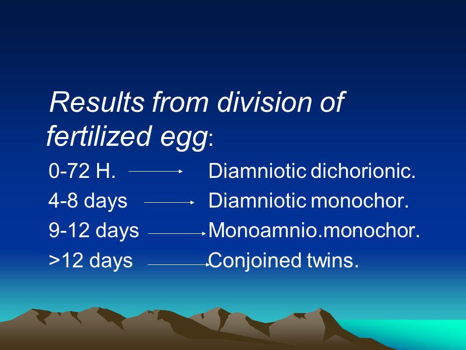 Results from division of fertilized egg : 0-72 H. Diamniotic dichorionic. 4-8 days Diamniotic monochor. 9-12 days Monoamnio.monochor. >12 days Conjoin