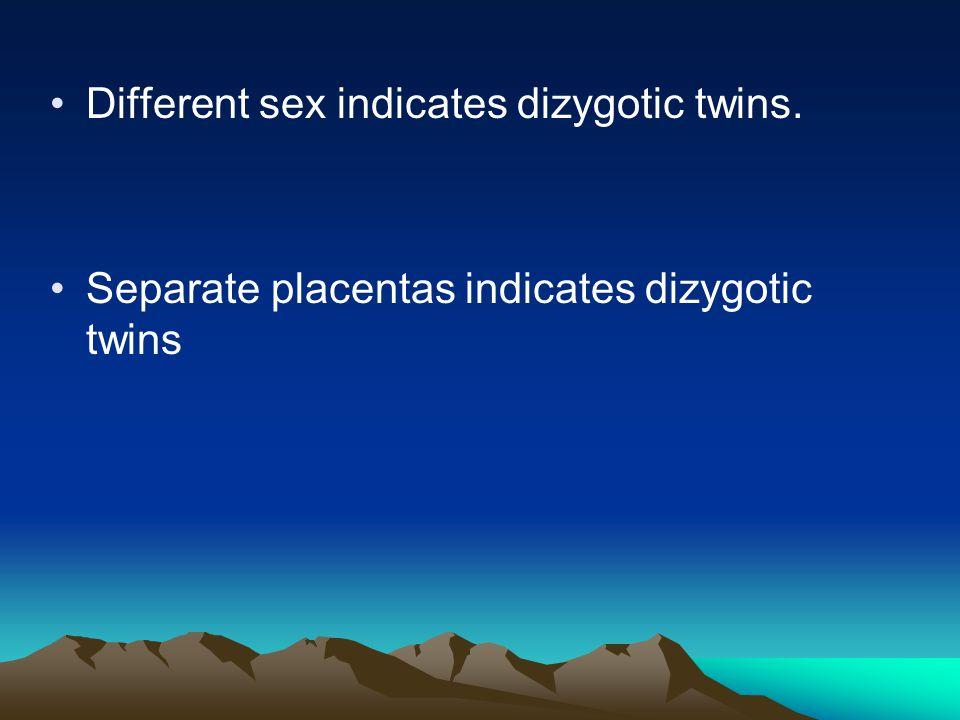 Different sex indicates dizygotic twins. Separate placentas indicates dizygotic twins