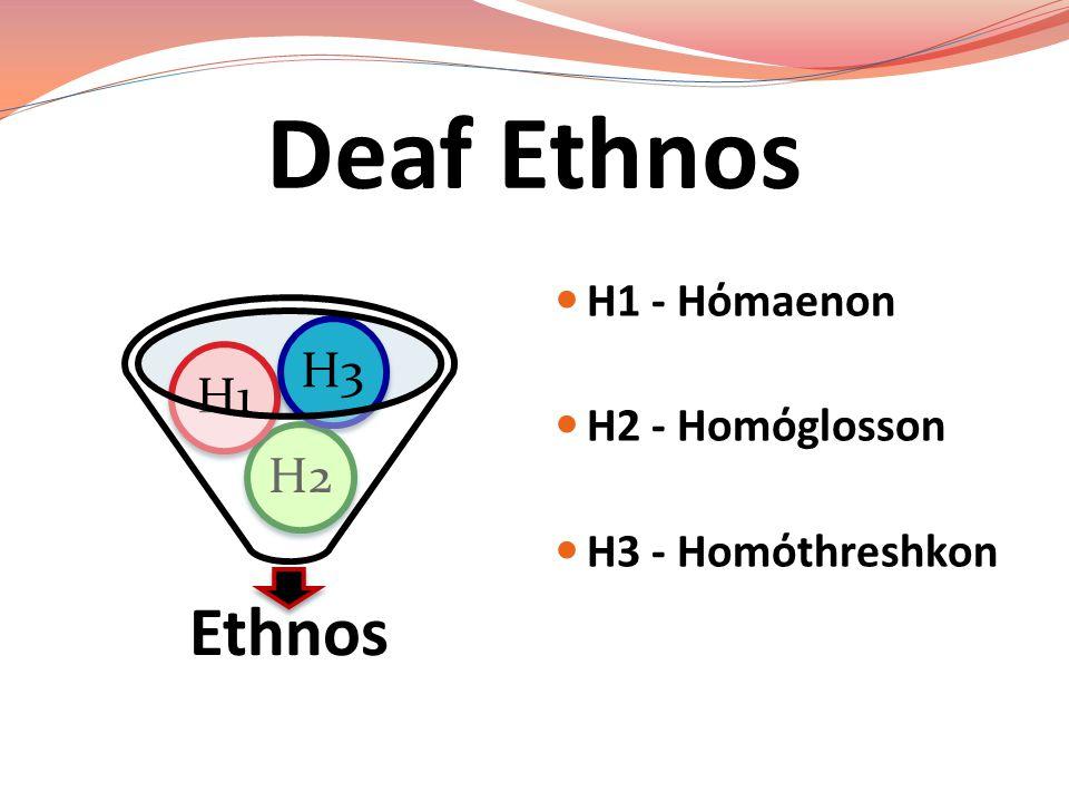 Deaf Ethnos Ethnos H2H1H3 H1 - Hόmaenon H2 - Homόglosson H3 - Homόthreshkon