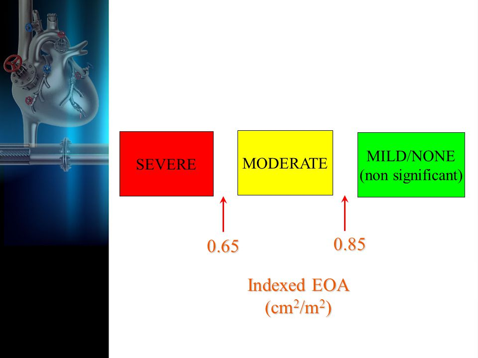 SEVERE MODERATE MILD/NONE (non significant) Indexed EOA (cm 2 /m 2 )