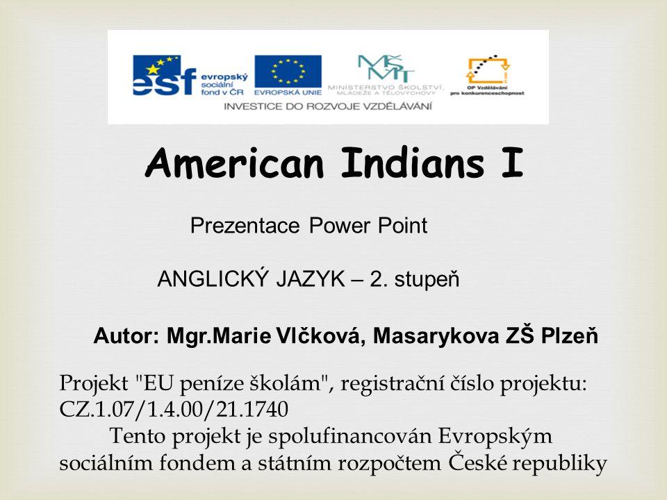 American Indians I Prezentace Power Point ANGLICKÝ JAZYK – 2.