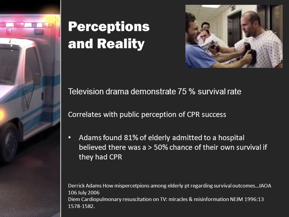 Myths & Reality Successful field resuscitation rates 2-5% Long held belief… out of hospital cardiac arrest efforts are futile