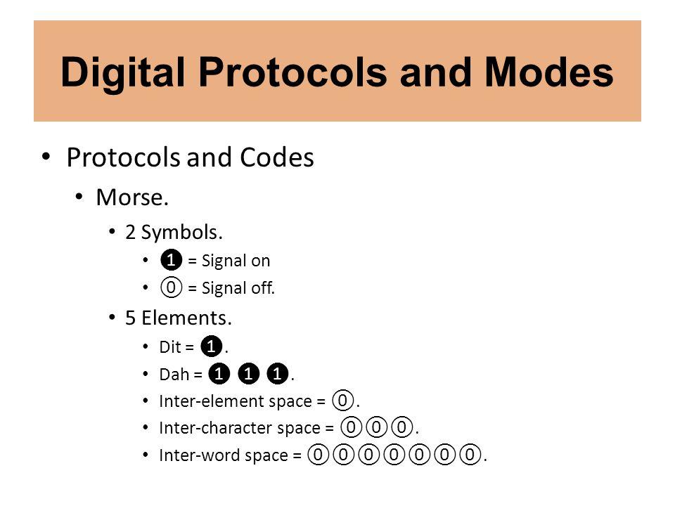 Digital Protocols and Modes Protocols and Codes Morse. 2 Symbols. = Signal on = Signal off. 5 Elements. Dit =. Dah =. Inter-element space =. Inter-cha