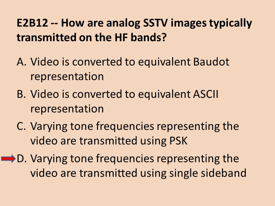 E2B12 -- How are analog SSTV images typically transmitted on the HF bands? A.Video is converted to equivalent Baudot representation B.Video is convert