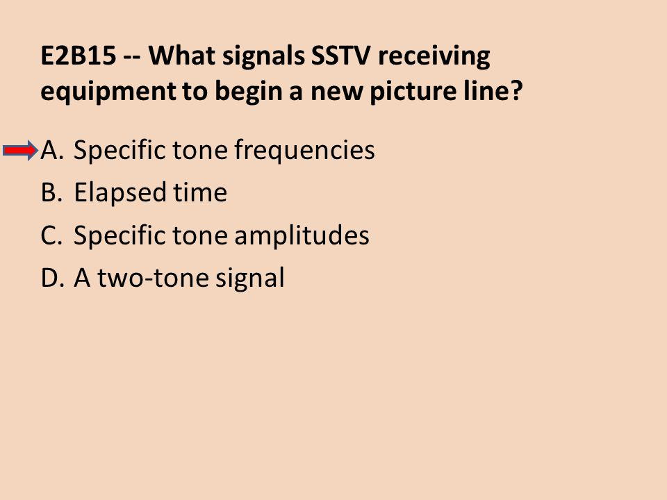 E2B15 -- What signals SSTV receiving equipment to begin a new picture line? A.Specific tone frequencies B.Elapsed time C.Specific tone amplitudes D.A