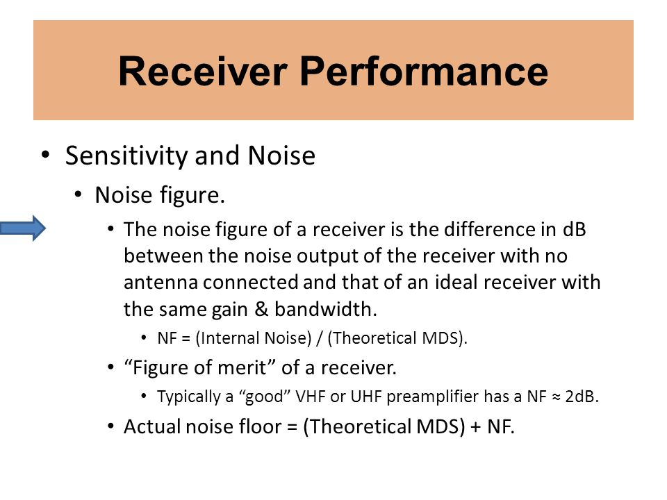 Receiver Performance Sensitivity and Noise Noise figure. The noise figure of a receiver is the difference in dB between the noise output of the receiv