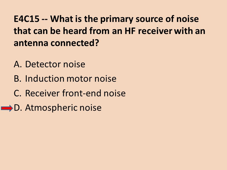 E4C15 -- What is the primary source of noise that can be heard from an HF receiver with an antenna connected? A.Detector noise B.Induction motor noise