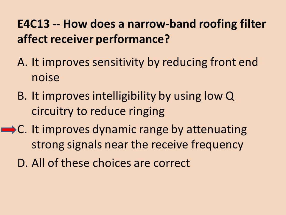 E4C13 -- How does a narrow-band roofing filter affect receiver performance? A.It improves sensitivity by reducing front end noise B.It improves intell