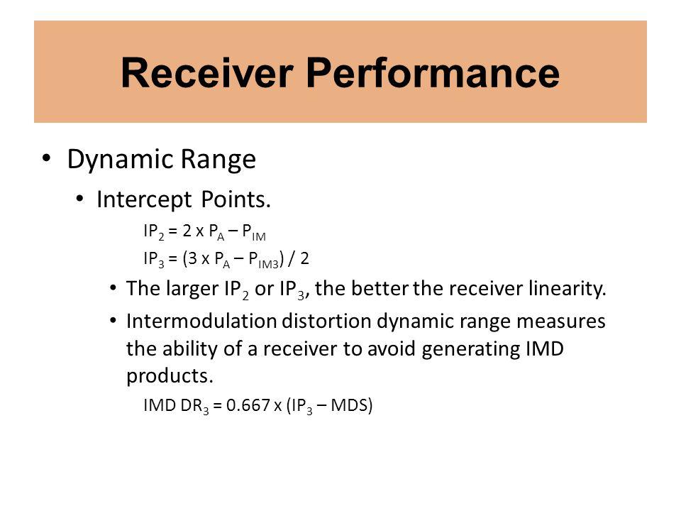 Receiver Performance Dynamic Range Intercept Points. IP 2 = 2 x P A – P IM IP 3 = (3 x P A – P IM3 ) / 2 The larger IP 2 or IP 3, the better the recei