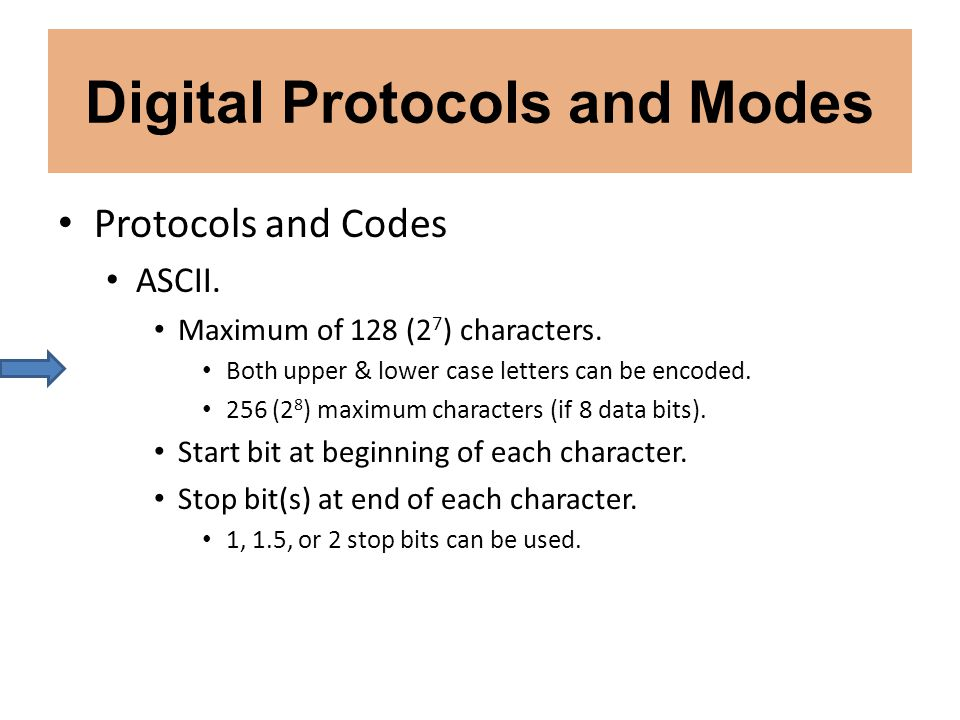 Digital Protocols and Modes Protocols and Codes ASCII. Maximum of 128 (2 7 ) characters. Both upper & lower case letters can be encoded. 256 (2 8 ) ma