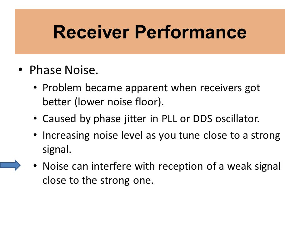 Receiver Performance Phase Noise. Problem became apparent when receivers got better (lower noise floor). Caused by phase jitter in PLL or DDS oscillat